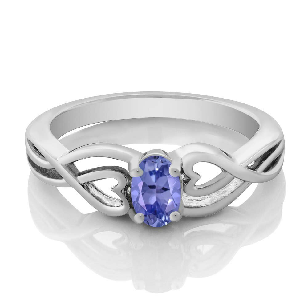0.45 Ct Oval Blue Tanzanite 925 Sterling Silver Ring 1