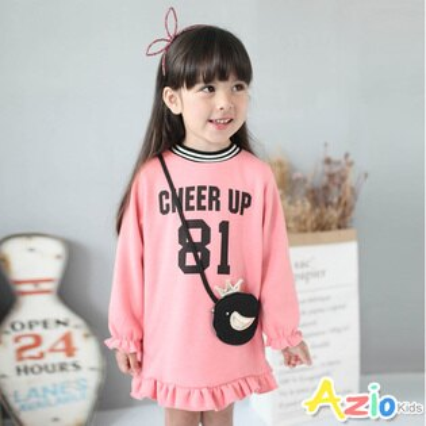 Azio Kids美國派:《美國派童裝》洋裝不倒絨字母荷葉襬洋裝(粉)