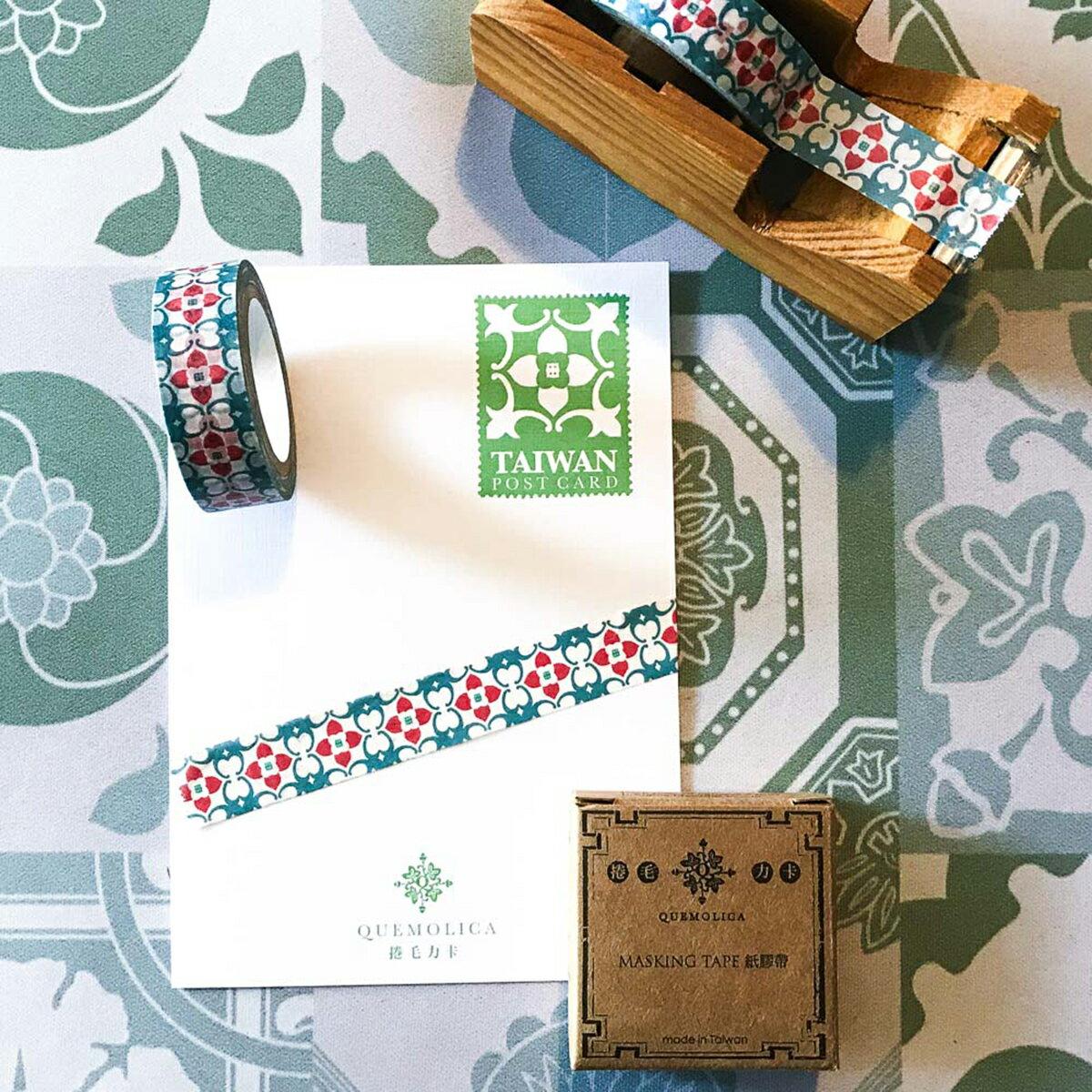 紙膠帶 - 柿柿好蝠氣  花磚,台灣,捲毛力卡,四方連續,紙膠帶