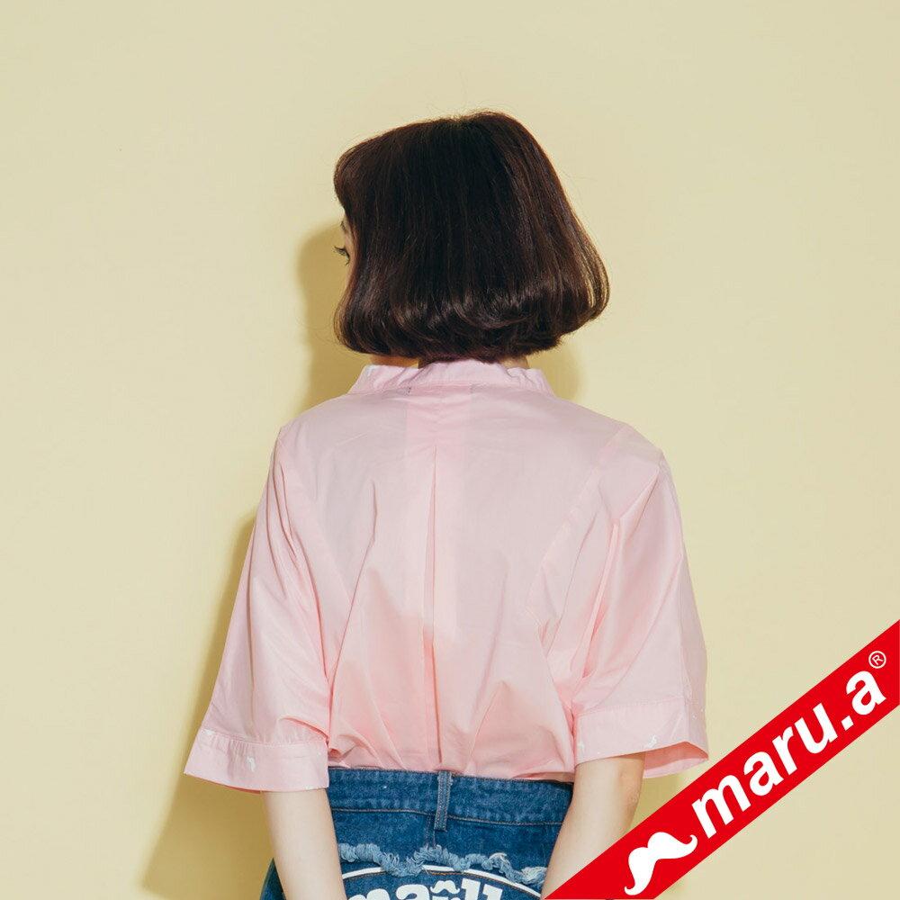 【maru.a】印花拼接V領寬鬆襯衫(2色)8313118 2