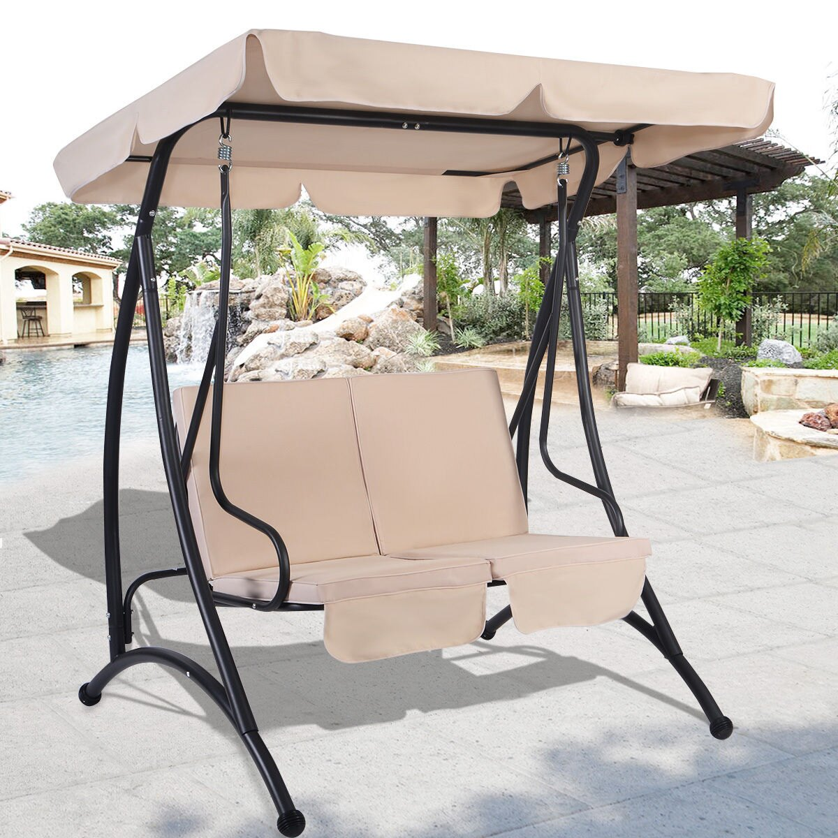 Costway Beige 2 Person Canopy Swing Chair Patio Hammock Seat Cushioned  Furniture Steel 0