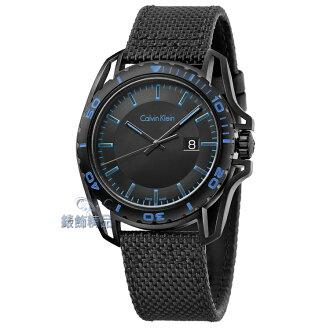 【錶飾精品】CK錶 紳士運動款 日期 黑面黑框藍時標 黑帆布皮帶男錶 K5Y31YB1 全新原廠正品 生日情人禮物