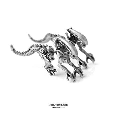 耳環 小誇張大趣味 精緻仿真立體恐龍穿式耳針   柒彩年代~ND274~中性款式