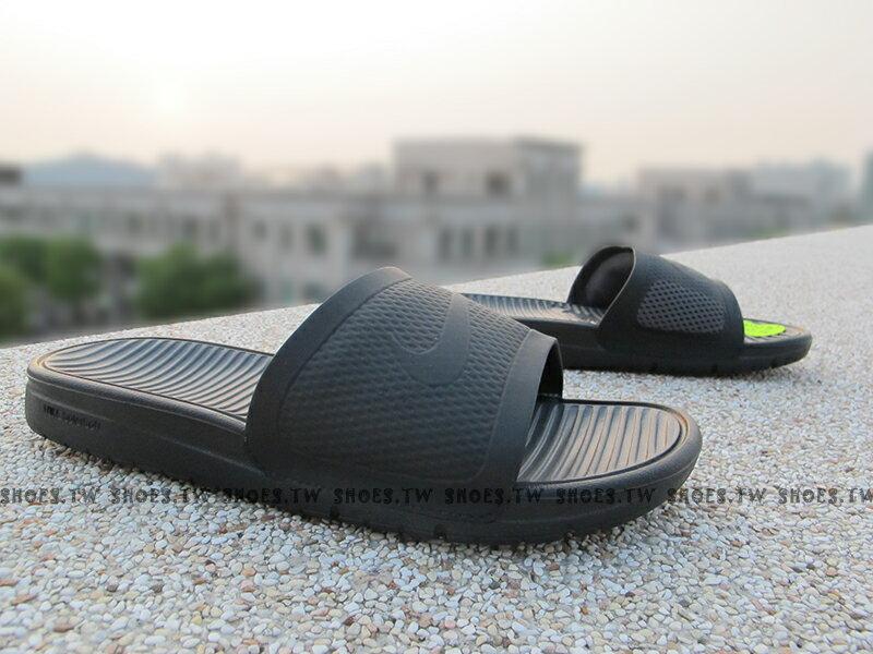 Shoestw【431884-001】NIKE BENASSI SOLARSOFT SLIDE拖鞋 黑灰 男生