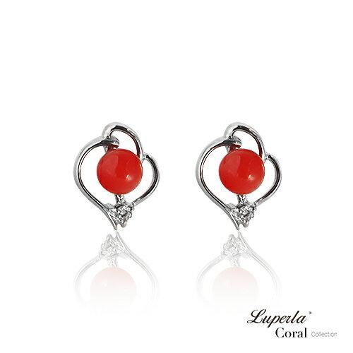 大東山珠寶 好事成雙 全紅珊瑚純銀耳環