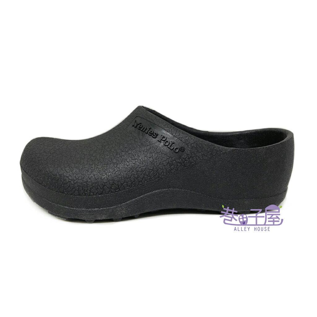 【巷子屋】Wenies PoLo 男/女款厚跟加厚防水廚師鞋 荷蘭鞋 工作鞋 拖鞋 [5369] 黑 MIT台灣製造 超值價$198