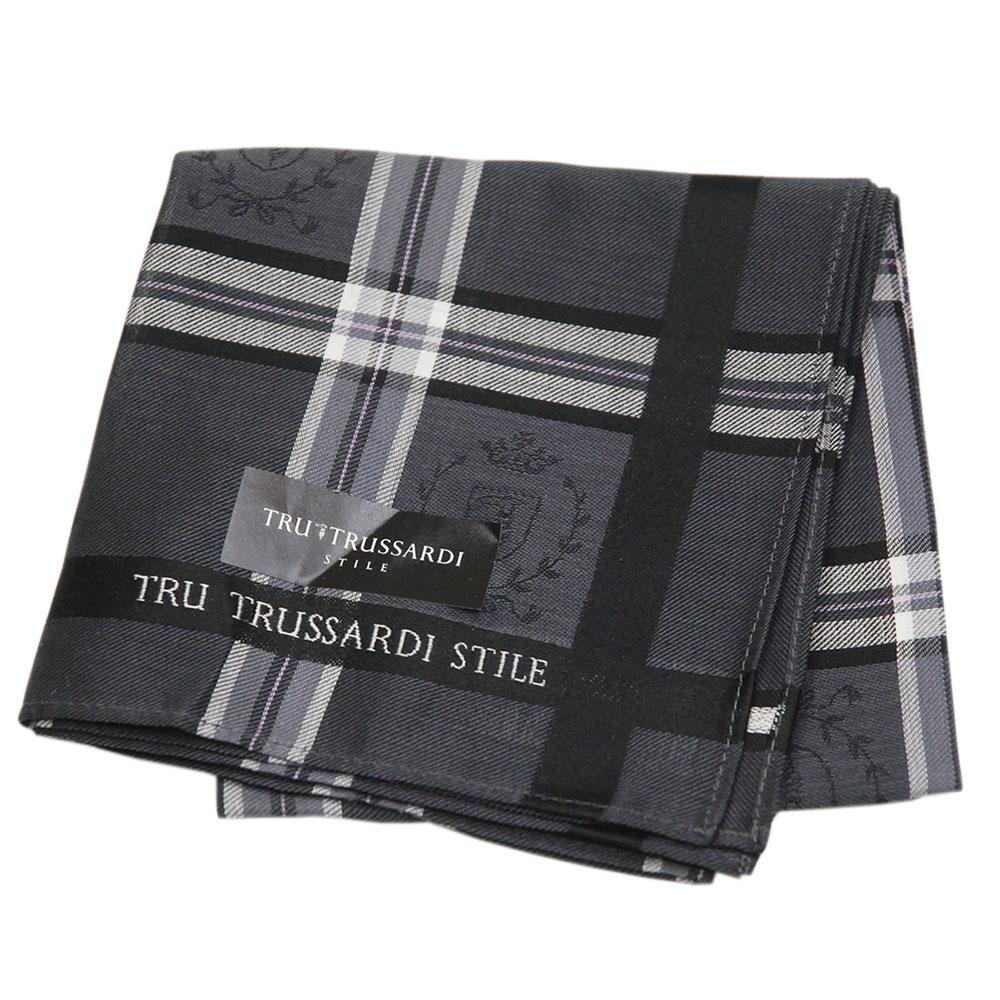 TRUSSARDI 經典品牌皇家圖騰LOGO帕領巾(深灰色系)