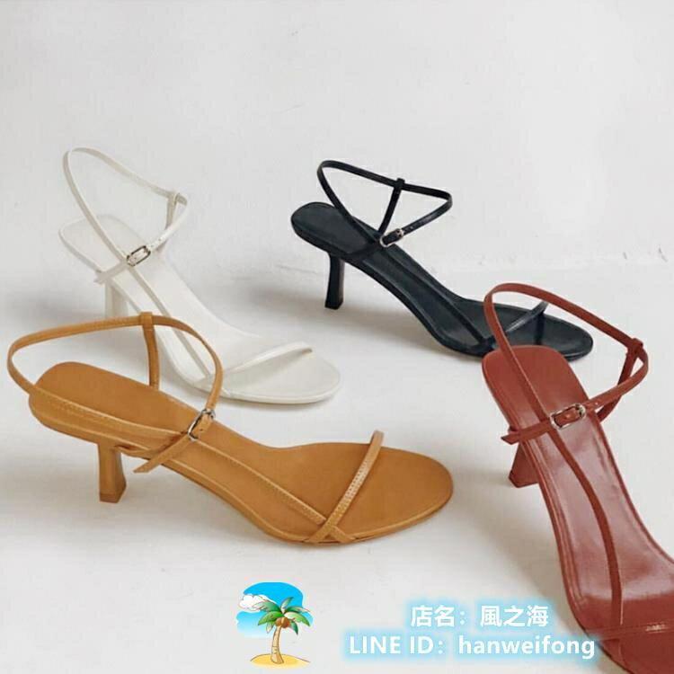 高跟鞋 細帶涼鞋細跟高跟鞋一字帶小跟女鞋 千尋之旅