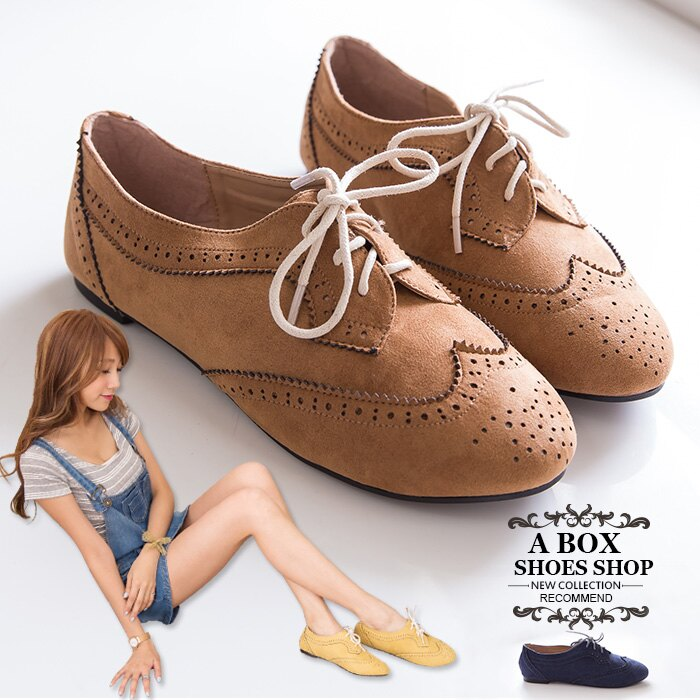 格子舖*【KR502-18】英倫雕花時尚學院風復古 質感麂皮繫帶牛津鞋 平底包鞋 3色(36-42) 0