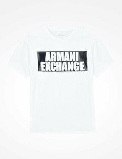 美國百分百【ArmaniExchange】T恤AX短袖logo上衣T-shirt男款白色I487