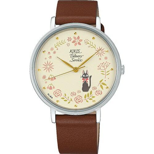 【真愛日本】18081400014牛革皮帶輕量ALBA圓錶-JIJI玫瑰花園米魔女宅急便ALBA牛革手錶圓錶