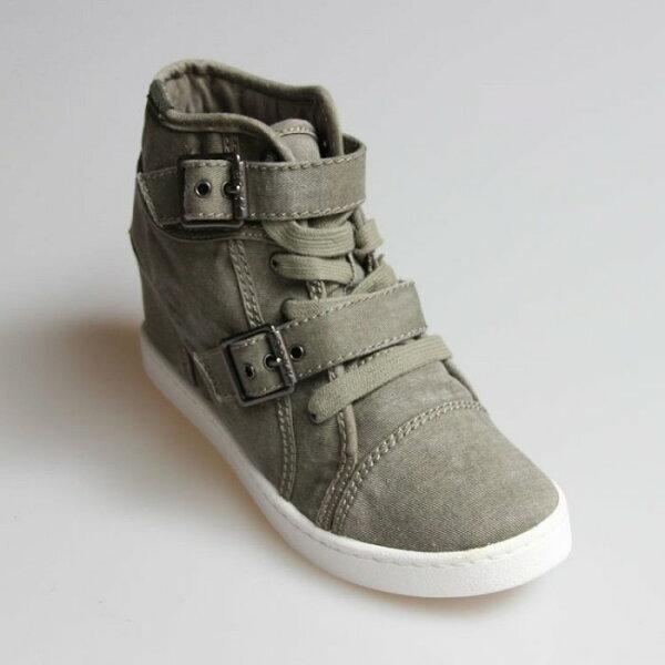 Pyf♥牛仔布不規則渲染雙扣帶內增高休閒鞋4243大尺碼女鞋