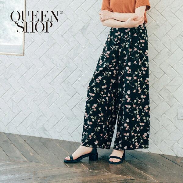 QueenShop【04110099】滿版印花打摺後鬆緊腰寬褲兩色售SM*預購*