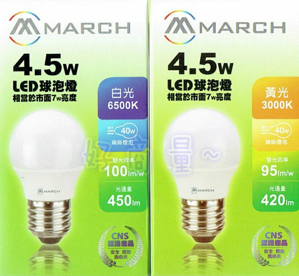 好商量專業照明 好商量~ MARCH 4.5W LED 燈泡 球泡燈 E27 全電壓