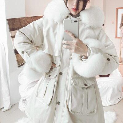 羽絨外套連帽夾克-腰部抽繩可拆卸狐狸毛領袖口女外套3色73tx15【獨家進口】【米蘭精品】