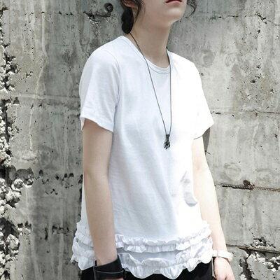 短袖T恤中長款-時尚新款木耳邊下擺女上衣2色73sl9【獨家進口】【米蘭精品】