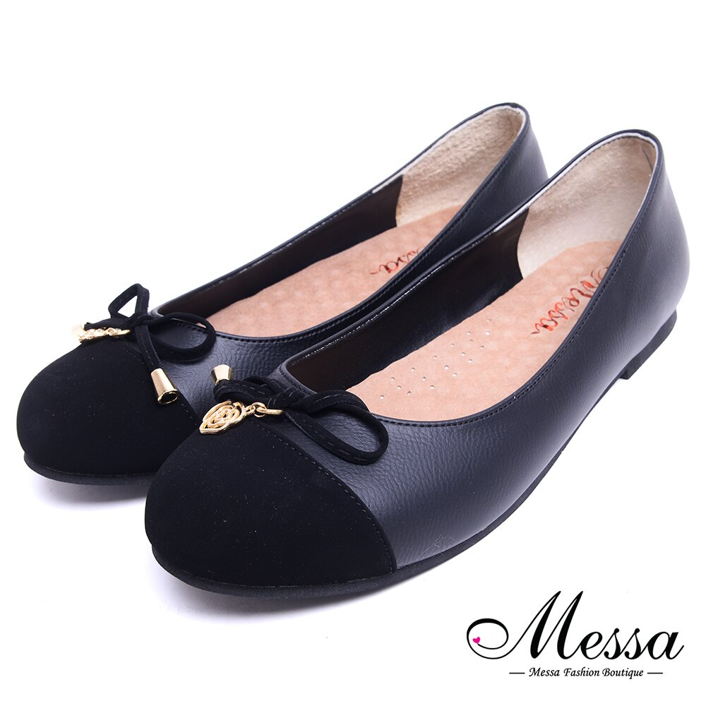 【Messa米莎專櫃女鞋】MIT浪漫玫瑰蝴蝶結異材質內真皮低跟娃娃鞋-黑色