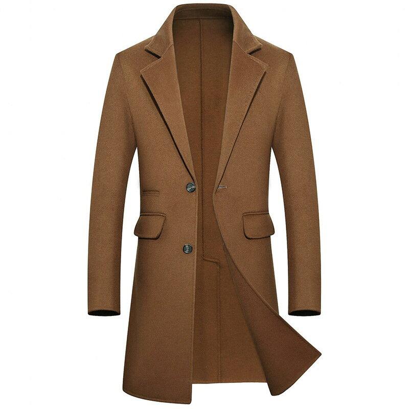 毛呢大衣長版風衣-西裝領商務修身羊毛男外套4色73wk25【獨家進口】【米蘭精品】 1