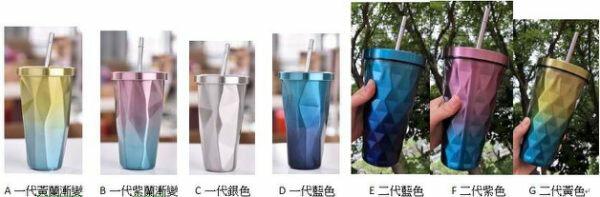 PS Mall 漸變色杯子菱形真空保溫杯帶吸管不銹鋼雙層水杯500ml【J527】 1