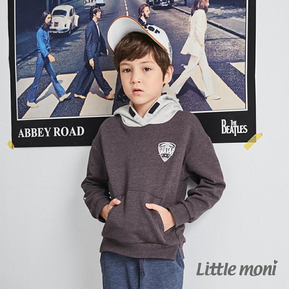 Little moni 連帽撞色刷毛運動衫 -鐵灰(好窩生活節) 1