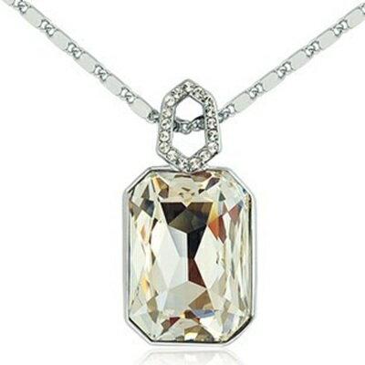 925純銀項鍊 鍍白金鑲鑽吊墜~奢華璀璨絢麗大方生日情人節 女飾品73ct1~ ~~米蘭