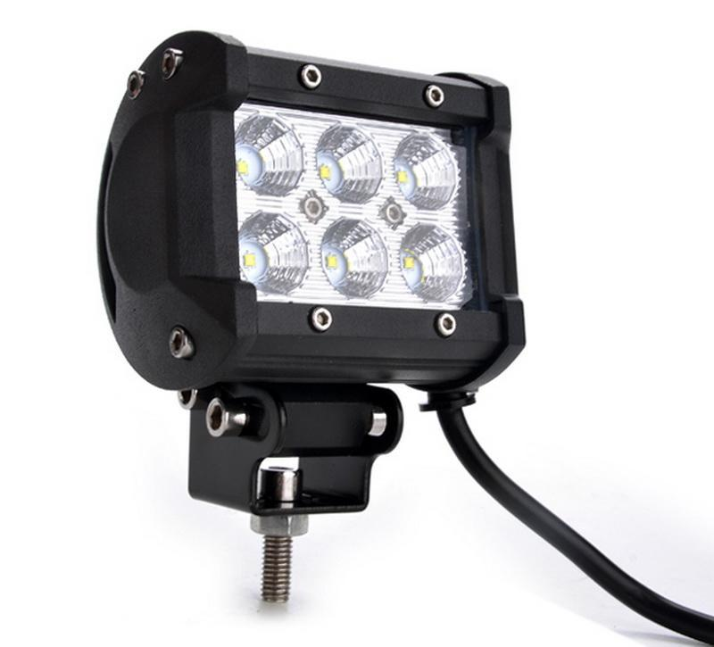 2 Pcs Light Bar 4inch 18W Flood Motorcycle LED Work ATV Off-Road Fog Driving 0