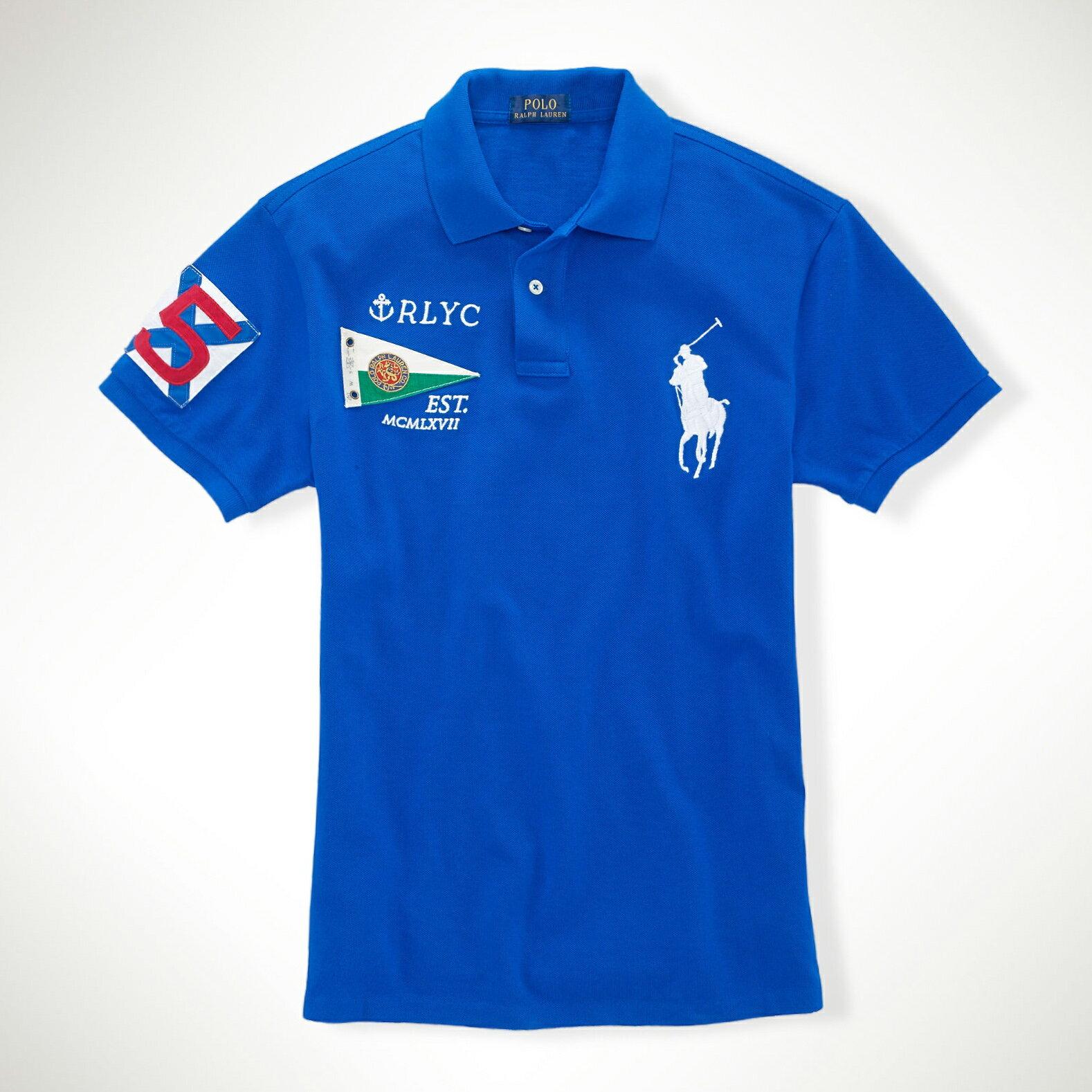 美國百分百【Ralph Lauren】Polo衫 RL 短袖 Polo 大馬 寶藍 旗幟 國旗 男 XS XXS號 F236