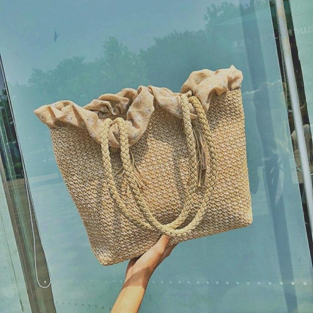 編制包 田園風編織手提袋單肩包文藝復古風沙灘包 領券下定更優惠
