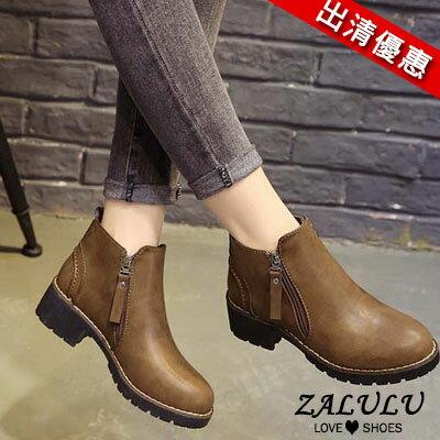 ZALULU愛鞋館 JE197 現貨出清 側拉鍊低跟短靴-偏小-黑/軍綠/深棕-36-40