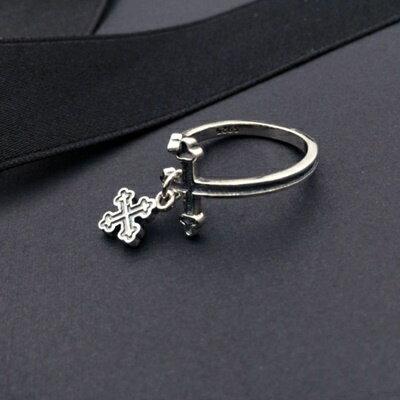 925純銀戒指銀飾-經典個性十字架造型生日情人節禮物女飾品73ic10【獨家進口】【米蘭精品】