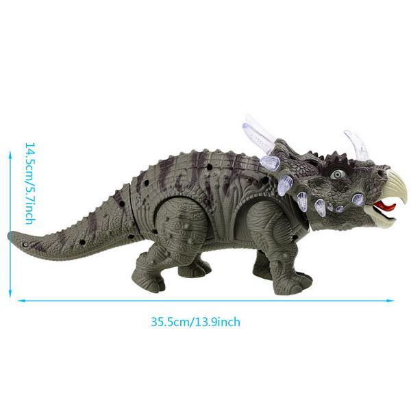 Battery Powered Triceratops Dinosaur Toy Realistic with Sounds Lights Walks Roar 2