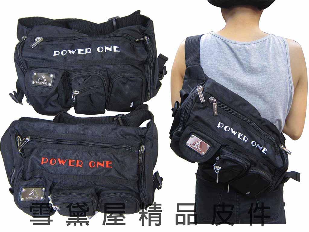 ^~雪黛屋^~POWER~ONE 屁股包腰包大型容量胸前包斜側包外出休閒工作隨身物品包防水