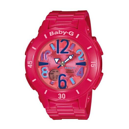 CASIO BABY-G BGA-171-4B1霓虹落日紅雙顯流行腕錶/桃紅面42.8mm