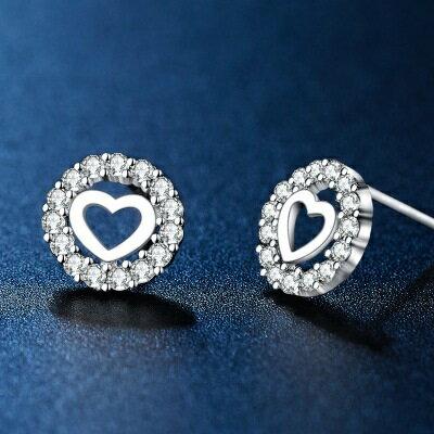 925純銀耳環鑲鑽耳飾~閃耀迷人愛心 情人節生日 女飾品73hk24~ ~~米蘭 ~