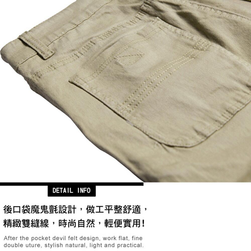 KASO 經典卡其 多口袋彈力休閒短褲( 中大尺碼 休閒 短褲 男性 夏天 Cargo Shorts) 2