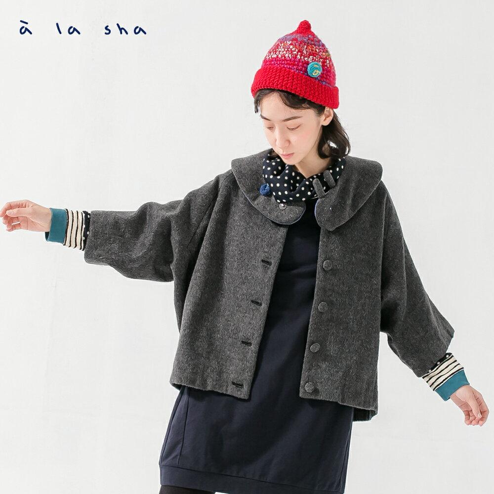 � la sha Qummi 兔兔圍巾設計感毛料外套