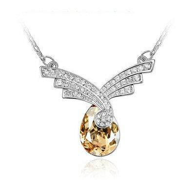 925純銀項鍊水晶吊墜 ~閃耀璀璨鑲鑽 生日情人節 女飾品5色73bb376~ ~~米蘭