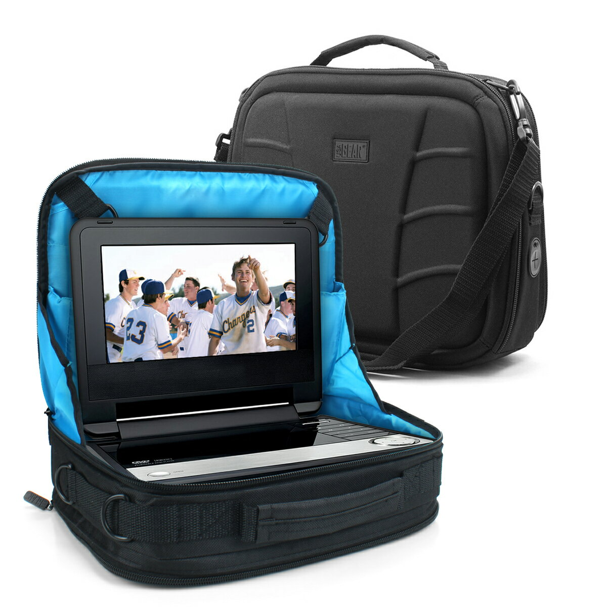 USA GEAR Portable DVD Player Case & Car Headrest Mount with Storage Pockets & Scratch-Free Interior 0