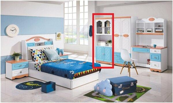 【石川家居】YE-A155-04喬治藍色2.7尺展示書櫥(不含其他商品)台北到高雄搭配車趟免運
