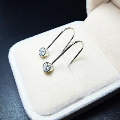 925純銀耳環鑲鑽耳飾~精緻小巧簡潔耀眼生日情人節 女飾品73ia21~ ~~米蘭 ~