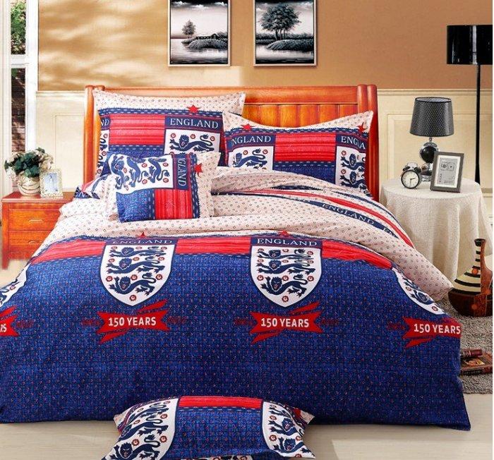 RBD0100 寰宇歐洲風 大不列顛日不落風格 英格蘭隊徽 夏季棉質床包4件套