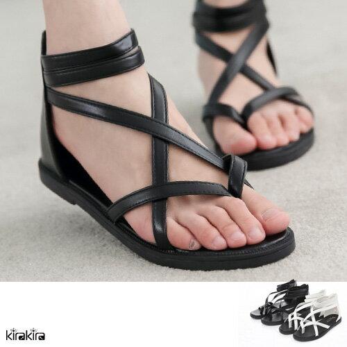 多線條皮革羅馬涼鞋