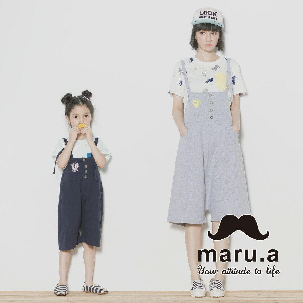 【maru.a】親子裝鶴刺繡低檔5分吊帶褲7315218 2