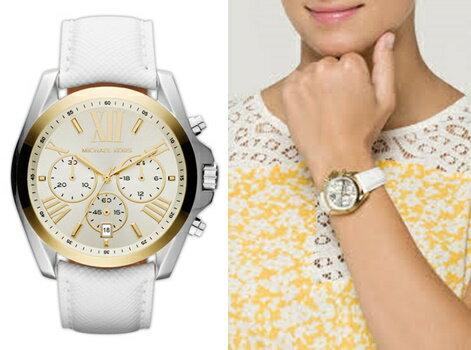 【Cadiz】美國真品正品 Michael Kors 經典羅馬三眼計時白色皮革手錶 [MK2302/ 代購/ 現貨]