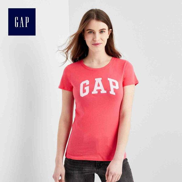 GAP女款基本款經典LOGO純棉短袖圓領T恤
