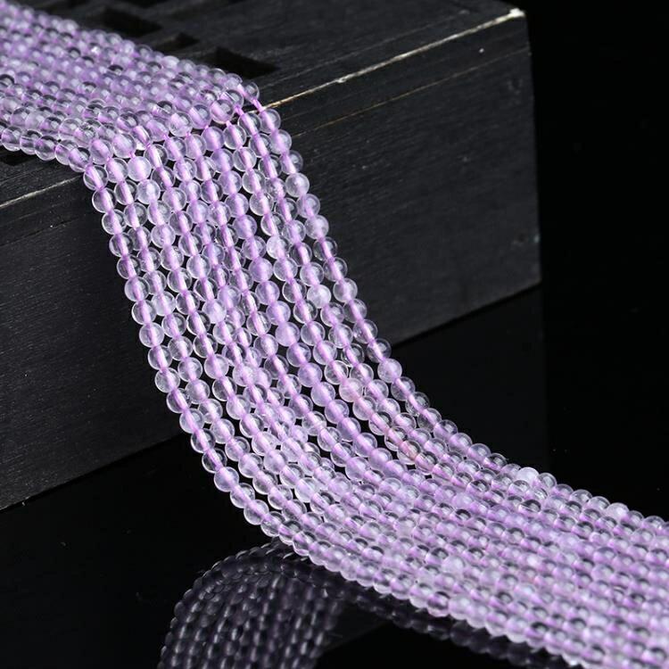 [超豐國際]2MM半成品淺紫色紫水晶散珠手工編織飾品配件手工1入