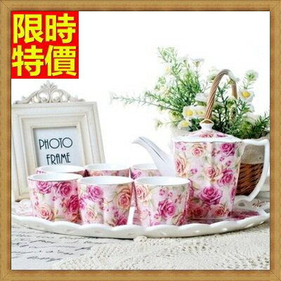 下午茶茶具 含茶壺+咖啡杯組合-6人高檔描金歐式陶瓷茶具4色69g28【獨家進口】【米蘭精品】