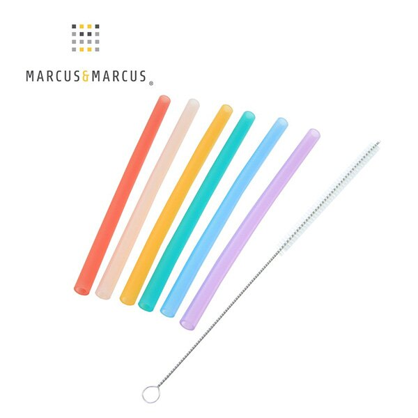 【MARCUS&MARCUS】動物樂園果凍矽膠吸管7件組
