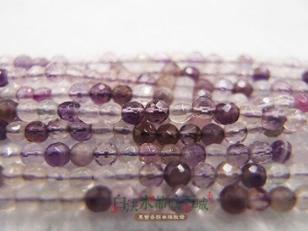 白法水晶礦石城奧地利天然-紫彩瑩石螢石2mm切面串珠條珠首飾材料(團購區九折)-3條1標