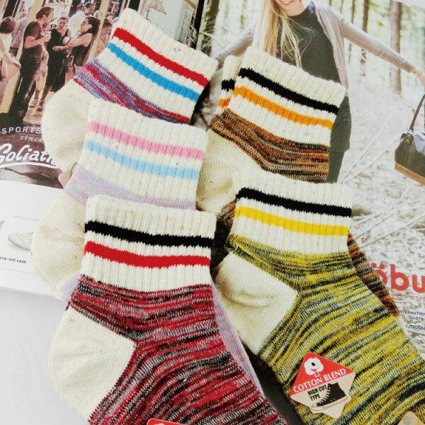 SEIO:襪子短版經典撞色雙條球鞋必備SEIO經典歐美簡約撞色條紋細條紋短版襪子(5色)